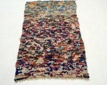 Exceptional Vintage Tribal Azilal Rug Azilal Boucherouite 4x5 Cultural Artistry Boucherouite rug Vintage moroccan boucherouite rag rug