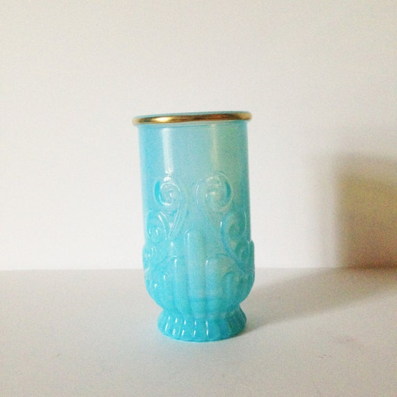 BLUE GLASS CUP Vintage Retro Bathroom By AnnmarieFamilyTree