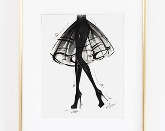 Fashion Illustration Print, LBD, 8x10""