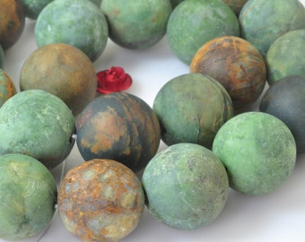 27 pcs of Natural Green Peruvian Opal,green stone matte round beads in 14 mm