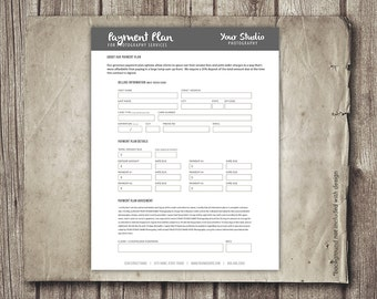 Photography Payment Plan Form Template - Financial Contract Invoice Template for Photographers - Payment Worksheet Plan - INSTANT DOWNLOAD