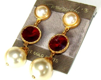 Swarovski Pearl & Red Siam Crystal Post Earrings New (D)