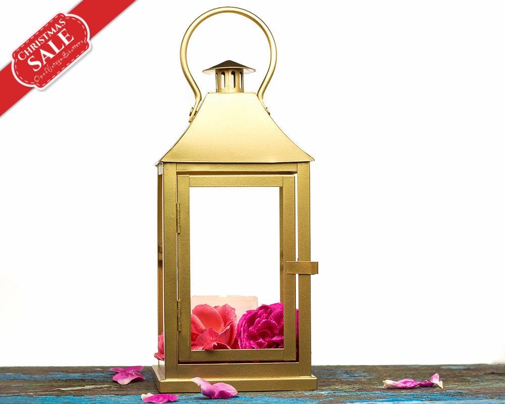Tabletop indoor outdoor lantern centerpiece gold candle
