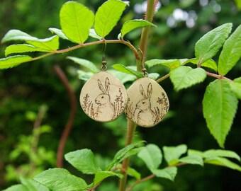Wooden rabbit earrings