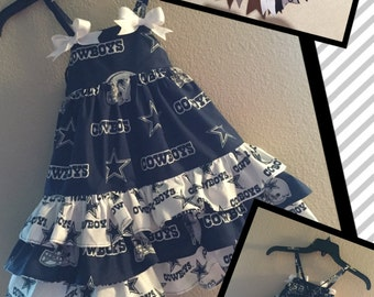 Dallas Cowboys Ruffle Dress with Matching Bow