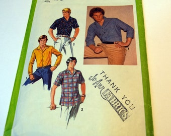 Vintage 1979 Simplicity 8944 basic Mens button up shirt sewing pattern