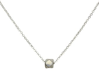 """Faceta Necklace, Sterling Silver, 16-18"""""""