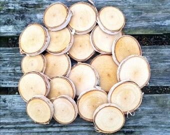 """25 Birch wood slices 1.5"""" - 1.75"""""""