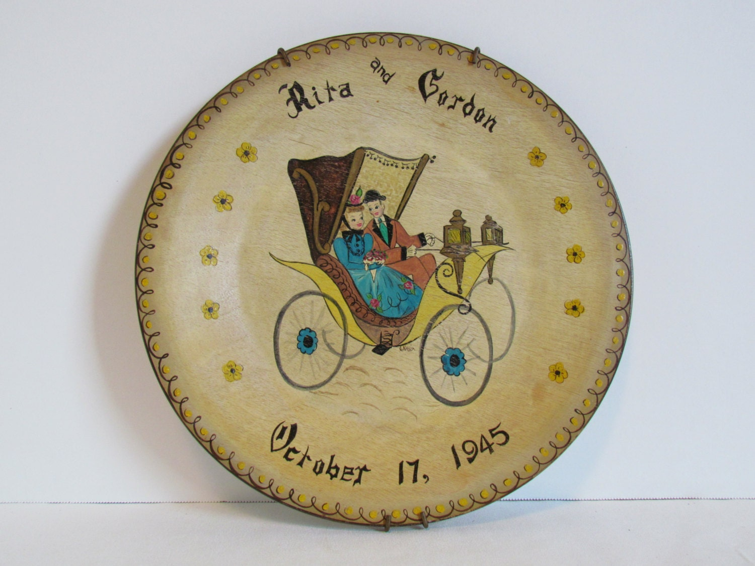 vintage wooden plate teal home wall buggy vintage