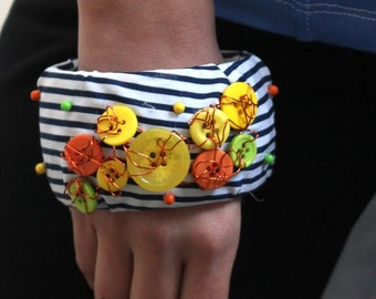 Customised Funky Retro Striped Embroidered Wire Button Bracelet