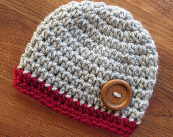 Crocheted Silver Gray Heather & Cranberry Red Baby Boy Hat with Wooden Button, Baby Gift, Photo Prop, Newborn to 5T - MADE TO ORDER