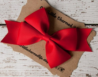 Red Hair Bow, Red Hairbow, Red Hair Clip, Holiday Hair Bow, Valentine Hair Bow, 5 Inch Hair Bow, Toddler Hair Bow