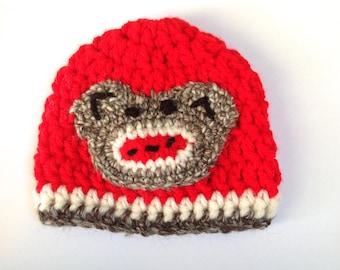 Crochet Sock Monkey Newborn Baby Hat Cute Red