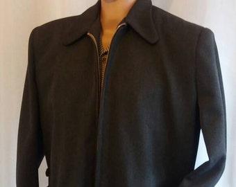 Charcoal wool gabardine jacket hep cat 50s style Medium