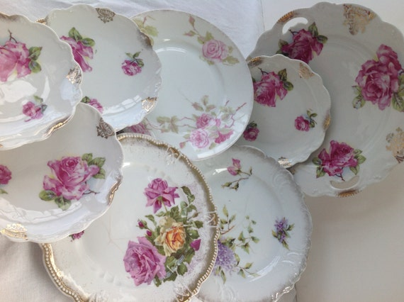 Vintage Shabby Chic Roses Plate Collection 8 Piece Set