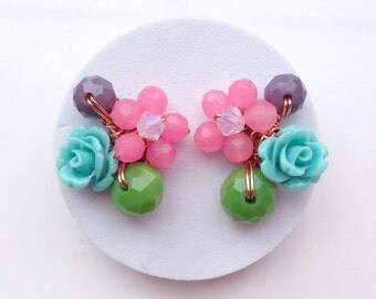 Turquoise pink earrings ,Summer Spring Jewelry,Casual Jewelry,Rose Earrings,Rose Jewelry,Stud Earrings,Floral earring,Flower Jewelry,Unique