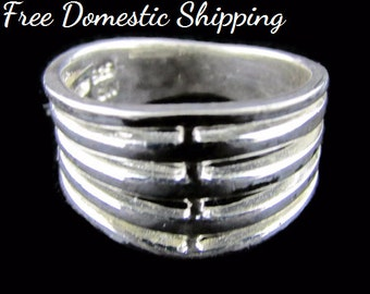 Sterling Silver Ring, Unisex Ring, Wide Band Ring, Open Design Art, Signed CW Ring, Marked 925, Gift for Him, Gift for Her,