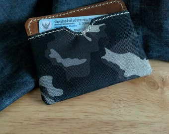 Leather Camouflage Card Case, Business Card Holder, Leather Card Wallet,Business Card Case, Cash Wallet,Money Wallet, Custom Card Holder