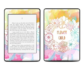 Amazon Kindle Skin - Flower Child by True Spirit Art - Sticker Decal - Fits Paperwhite, Fire, Voyage, Touch, Oasis