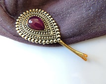 Vintage Old Style hair pin,bridal hairpin, jewelry, Bronze Purple Clip,Amazing Vintage Style Pin Mustard clips broch, Bobby Pins