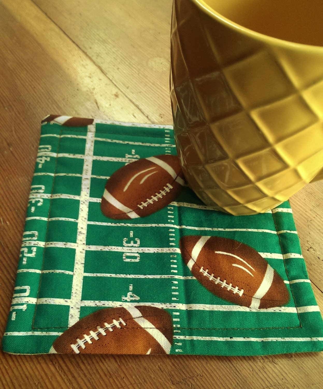 Quilted Mug Rug Mug Mat. Drink Mat Football Enthusiasts