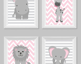 Zoo Nursery Decor, Gray and Pink Nursery, Girl Zoo Nursery, Elephant Nursery, Safari Nursery, Jungle Decor, Hippo, Giraffe, Zoo Canvas Art