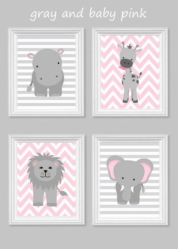 Babyzimmer mädchen grau rosa  Zoo Kinderzimmer Dekor grau und rosa Kinderzimmer Mädchen
