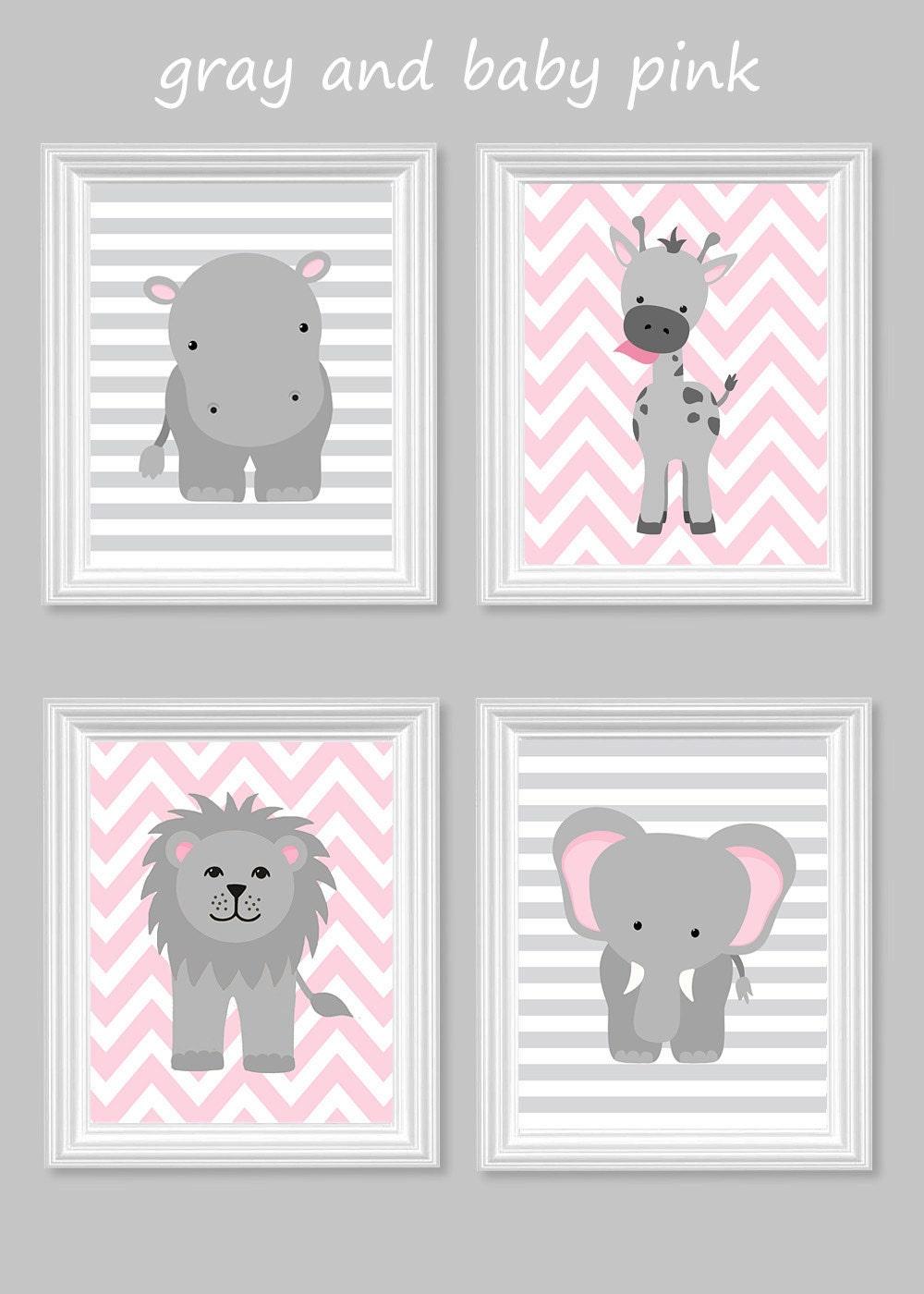 zoo nursery decor gray and pink nursery girl zoo nursery. Black Bedroom Furniture Sets. Home Design Ideas