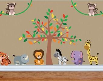 Jungle Nursery Decor, Jungle Wall Decal, Safari Wall Decal, Jungle Nursery Decals, Jungle Theme Nursery, Safari Theme Nursery