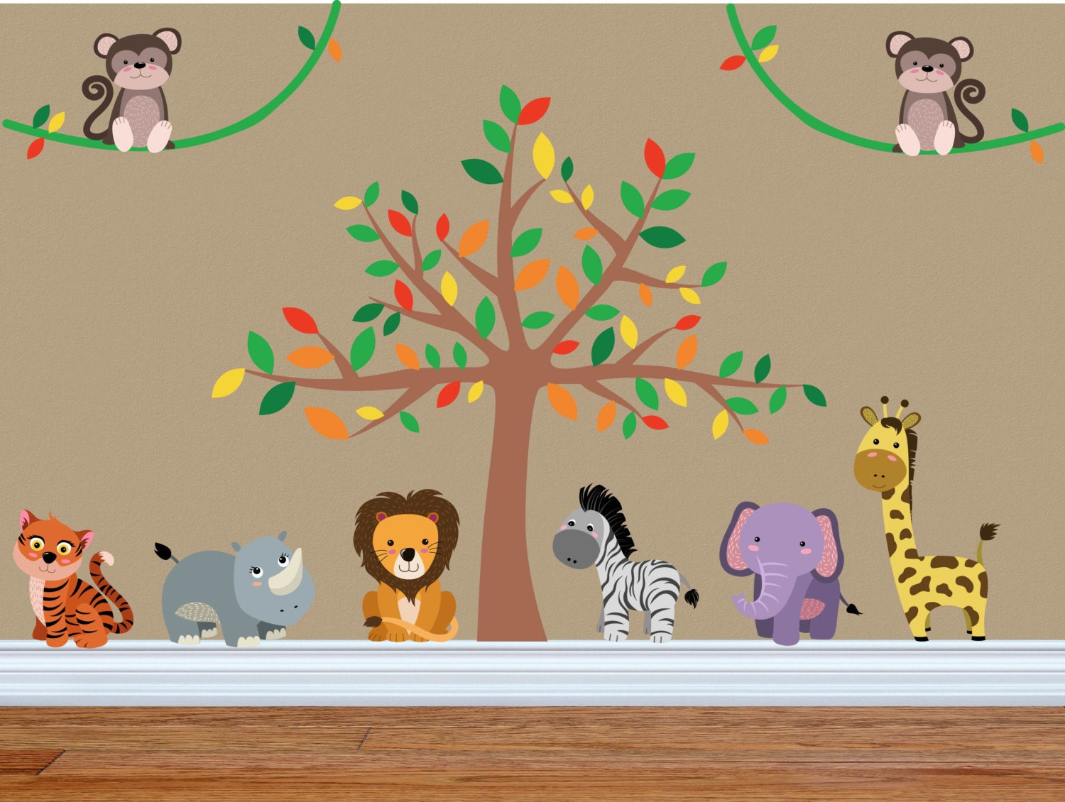 Jungle Nursery Decor Jungle Wall Decal Safari Wall Decal - Jungle themed nursery wall decals