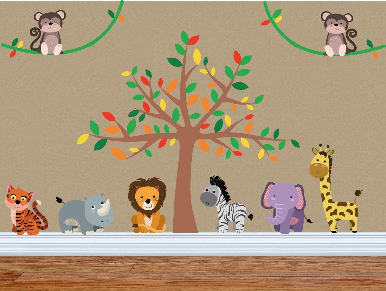 Jungle Nursery Decor Jungle Wall Decal Safari Wall Decal - Jungle themed nursery wall decals