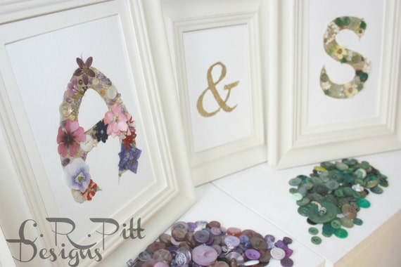 wedding gift using real pressed flowers gemstones and found objects handmade letters