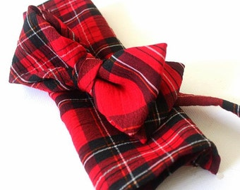 bow tie,mens bow,bow,handkerchief,red-black checked