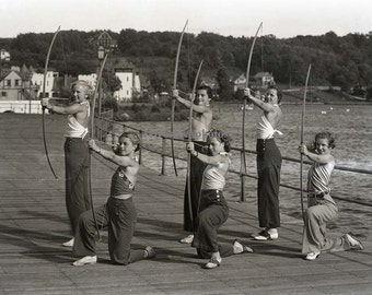 "vintage archery photo; wall art; black and white image; ""archers on boardwalk 1935"" - AR-07"