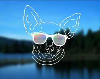 Chihuahua Decal, Dog, Vinyl Decal, Car Decal, Bumper Sticker, Decal