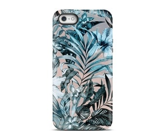 Floral iPhone 6s case, iPhone 5 case, iPhone 5s case, iPhone 6 case, iPhone 7 case, iPhone 7 Plus case, iPhone 7 tough case - Tropical