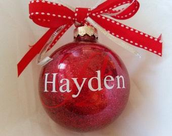 Christmas Ornament, Monogrammed Ornament, Custom Ornament, Red Ornament, Vinyl Ornament, Christmas Ball, Handmade Ornament, Custom Gift