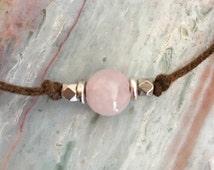 Pink stone choker, Rose quartz choker, Simple choker, Boho choker, Minimalist choker, Beach choker, Summer necklace, Pink gemstone choker