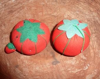 2 Vintage Tomato Pin Cushions Pincushions