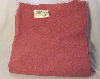Vintage Pure Real Irish Tweed Salmon wt Golden Yellow Slubs 100% Wool Tweed