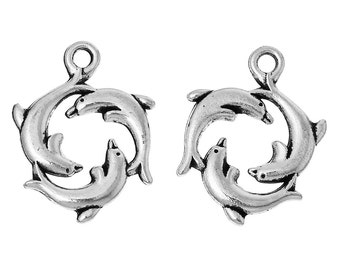 4 Antiqued Tibetan Triple Silver Dolphin Charms