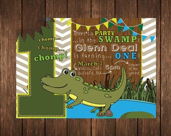 Alligator Gator Swamp Chevron Birthday Invitation