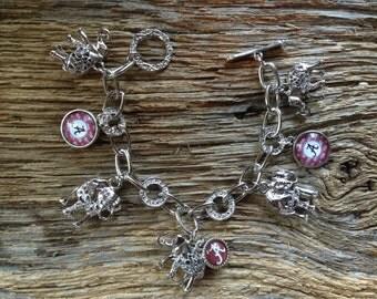 Alabama Roll Tide charm bracelet: Silver elephants Alabama Crimson Tide bracelet