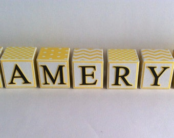 Yellow and White Wooden Name blocks, wooden letter blocks, personalized name blocks, personalized wooden blocks, nursery block letters