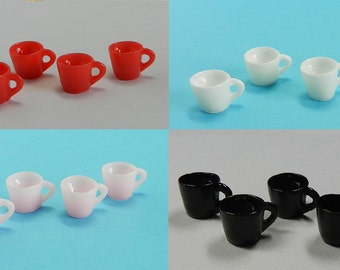 4 TEA CUPS for miniature dollhouse, dollhouse food, dollhouse kitchen, miniature cups, miniature food.