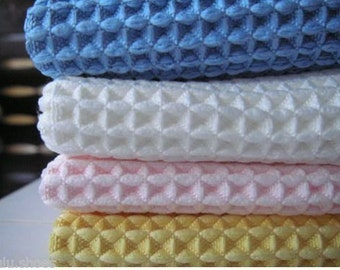 Cotton WAFFLE Pique Honeycombe Fabric Material - 150cm wide and sold by the metre /Ecru Cream Rose Pink White and more/