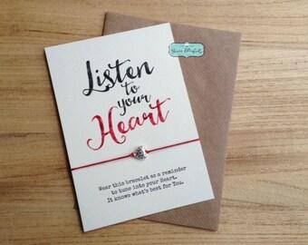 Listen to your Heart Yoga Bracelet, Heart Yoga, Yoga Card, Yoga Teacher Gift, Mindfulness Gift, Self Love Gift, Meditation Bracelet