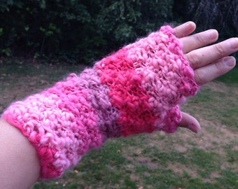Pink Fingerless Gloves, Wrist Warmers, Christmas Gift