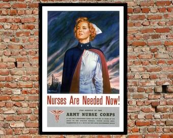 Reprint of the WW2 Propaganda Poster - Army Nursing Corp