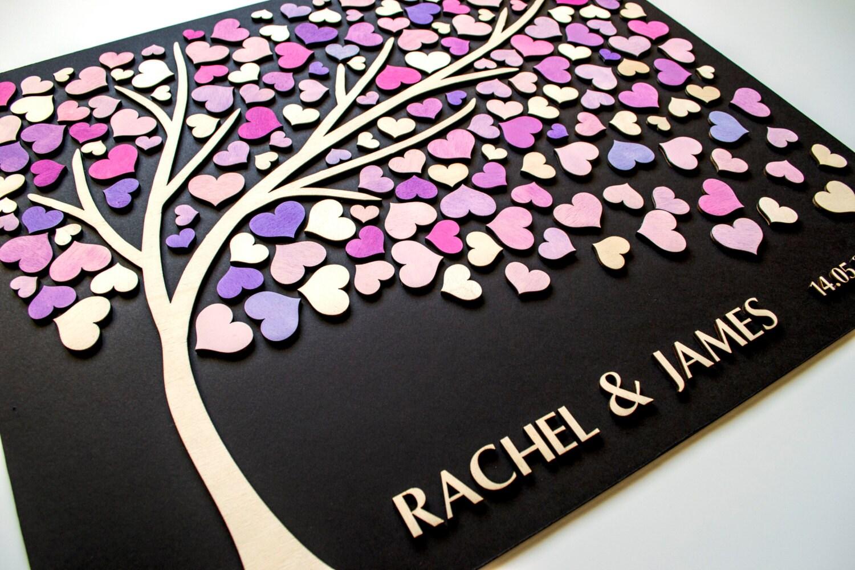 Custom 3d Wedding Guest Book Alternative Tree Wood Hearts